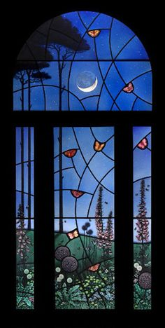 The Night Garden - painted stain glass window by Scottish artist, Brian James Waugh....all the flowers are realistic. It's like a magic world on the other side of the glass!