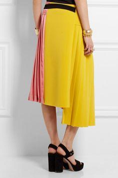 Marni | Pleated crepe and satin wrap skirt | NET-A-PORTER.COM