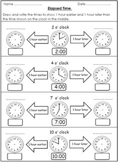 Free Elapsed Time Worksheet For School Telling Time Activities, Teaching Time, Teaching Math, 2nd Grade Math Worksheets, School Worksheets, Clock Worksheets, Elapsed Time, Homeschool Math, School