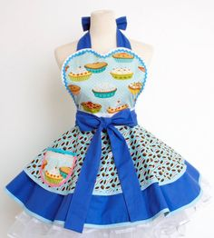 Oh my god this is too adorable.... I want! Though I could never actually wear it while cooking without destroying it! Cupcake Apron mixed with Ice cream Cookies by OliviasStudio, $62.00