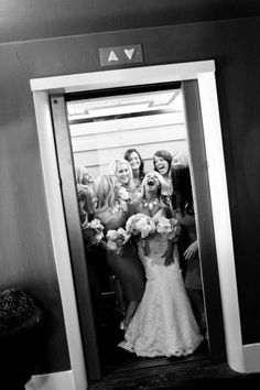 Heading to the wedding! Love this elevator picture of all the girls!!! Should do one of both the guys  before and then the girls!