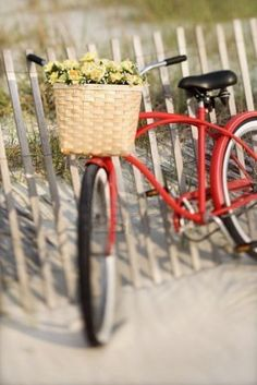 Image Detail for - Red vintage bicycle with basket and flowers leaning against wooden ...