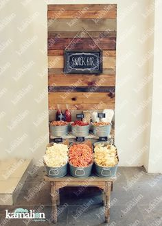 www.kamalion.com.mx - Mesa de botanas / Snack Bar / frituras / Rustic / Vintage / Wood / Decor / Madera / Wedding / Metal / Tina.