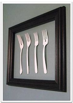 Cute kitchen wall art and very thrifty!
