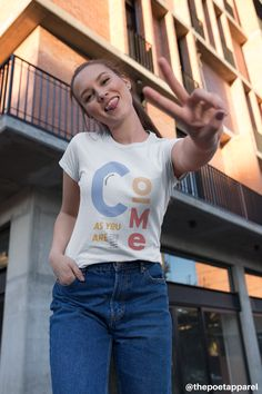 Her go-to tee fits like a well-loved favorite, featuring a slim feminine fit. Additionally, it is really comfortable - an item to fall in love with. Christian Clothing, Christian Shirts, Christian Apparel, Funny Shirts, The Twenties, Street Wear, Just For You, Unisex, T Shirts For Women