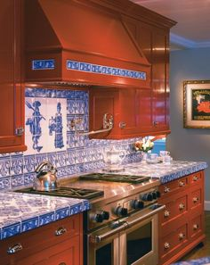 Woodmeister - Kitchen 68 - Paint it red - a kitchen than matches a lipstick shade with custom delft blue tiles. Farmhouse Kitchen Decor, Kitchen Dining, Village House Design, Mexican Kitchens, Kitchen Organisation, Tile Countertops, Custom Kitchens, Kitchen Tiles, Kitchen Remodel