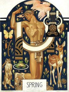 This gorgeous Art-Deco style illustration by J C Leyendecker from 1929 shows Spring represented as a Greek god. Art And Illustration, Arte Inspo, Kunst Inspo, Fantasy Kunst, Fantasy Art, Art Nouveau, Moda Art Deco, Jc Leyendecker, Butterfly Artwork