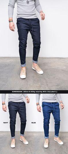 Mens Striped Slim Baggy Drawcord Jeans-Sweatpants 273 by Guylook.com