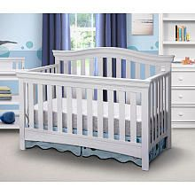 Delta Bennington Bell 4-in-1 Convertible Crib - White Ambiance (280) converts to all crib sizes