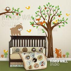 Image of Full Tree with Branch Forest Friends Bear - vinyl wall sticker decal - KK123 - Children Baby Kid nur