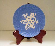 Harker Pottery Dianty Flower Pattern Blue Swirl by DreamMakerFinds, $3.99