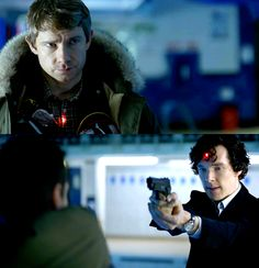 """Target on John's heart, and Sherlock's brains. """"I will burn the heart out of you!"""" Subtext anyone? <3"""