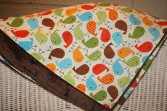 Bermuda Bird and Minky Crib Blanket by DesignsbyChristyS on Etsy, $65.00