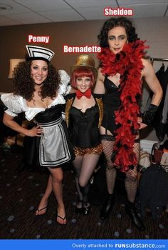 Big Bang Theory Burlesque.  Sheldon Ricks a boa like it's no one's business. Bazinga.<<<<< Hey, you! It's not Burlesque. They're Cosplaying three of the main characters from Rock Horror Picture Show! DX Sheldon = Dr. Frank-N-Furter Penny = Magenta Benadette = Columbia. Know your 1970's Cult Comedy Musicals. GOSH.