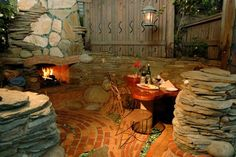 The outdoor fireplace at Cambria Pines Lodge
