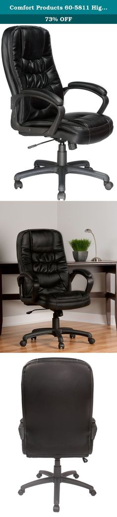 Comfort Products 60-5811 Highback Soft-Touch Leather Executive Chair, Black. The 60-5811 Highback, twin-cushion, bonded leather executive chair by Comfort Products features an outstanding design for the price. Black bonded leather with vinyl match and contrast stitch design. Molded padded arms with contoured nylon base. Tilt, tilt tension, swivel, tilt lock, seat height adjustment. Comfort Products develops, manufacturers, and markets targeted consumer products designed to improve and...