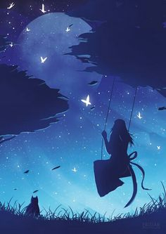 Would you like to swing on a star? HD wallpaper for iPhone and iPod touch Art Anime, Anime Kunst, Anime Artwork, Fantasy Kunst, Fantasy Art, Unicorn Fantasy, Anime Quotes Tumblr, Anime Body, Anime Pokemon