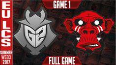 G2 Esports vs Mysterious Monkeys Game 1 | EU LCS Week 5 Day 3 Summer 2017 | G2 vs MM G1