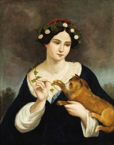 Juan Cordero Hoyos (Mexican painter, 1822-1884) Woman with a Cat and Ivy