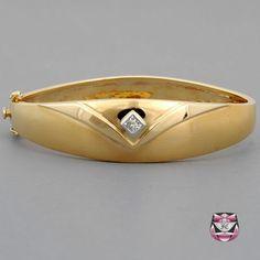 Signed Diamond Bangle Bracelet