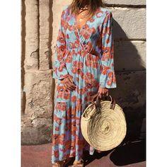 Boho Cross Front V-ncek Floral Maxi Dress – rebecy Women's Fashion Dresses, Boho Fashion, Casual Dresses, Summer Dresses, Maxi Dresses, Vacation Dresses, Floral Maxi Dress, Boho Dress, Dress Brands