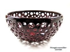 Dark red ceramic lace bowl / berry bowl (Ready to ship). $55.00, via Etsy.