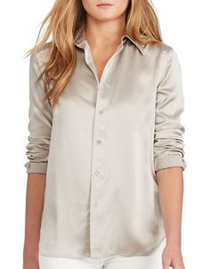 Polo Ralph Lauren Silk Long Sleeve Shirt Women's Silver 8