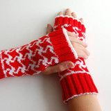Hounds Tooth Fingerless Gloves