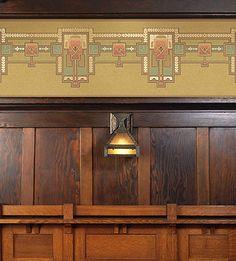 Arts & Crafts Wallpaper, Craftsman Style Wallpaper | Olive Colorway | Bradbury & Bradbury