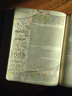 Bible Journaling with bunting on pages