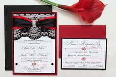 Black and Red Lace invitation with rhinestone