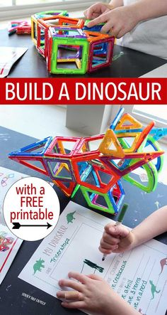 "Build a dinosaur! Kids will love making their own 3D dinosaur with Magformers then writing all about their creating in a free printable ""My Dinosaur"" journal. Little dino fans will love this dinosaur activity and it's educational too! (sponsored)"