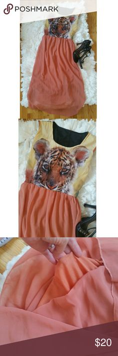 Lion Maxi Dress! Such a fun dress!  Purchased on Thailand.  No size tag.  Would fit a small.   Lined.   Excellent condition.  Measurements: Dresses