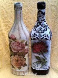 Resultado de imagen de galeria decoupage Wine Bottle Corks, Diy Bottle, Bottle Vase, Wine Bottle Crafts, Bottles And Jars, Decoupage, Recycled Glass Bottles, Altered Bottles, Vintage Bottles