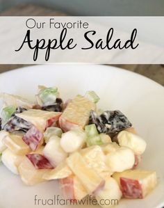 Homemade Apple Salad Recipe Who knew that a simple mixture of apples dates marshmallows and celery could be so so delicious I think this is one of those recipes where the whole is greater than the sum of it s parts definitely applies Apple Salad Recipes, Fruit Recipes, Cooking Recipes, Blender Recipes, Healthy Snacks, Healthy Eating, Healthy Recipes, Dessert Salads, Fruit Salads