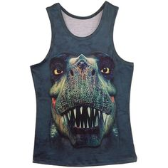 Blue Womens Cool 3D Dinosaur Casual Tank Top ($11) ❤ liked on Polyvore featuring tops, blue tank, blue top, blue singlet and blue tank top