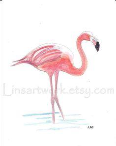 Original watercolor 5 x 7   Pink Flamingo by Linsartwork on Etsy, $25.00