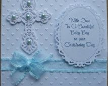 A Handmade Christening Card for a Baby Boy Christening Cards For Boys, Handmade Christening Cards, Baptism Cards, Baby Boy Christening, Christening Gifts, Boy Cards, Kids Cards, First Communion Cards, Greeting Card Shops