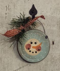 Primitve SnowmanOrnament on TinSnowman by FlatHillGoods on Etsy