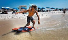 Skimboarding...the only thing you can do  in the Gulf! No surfing except during hurricanes.