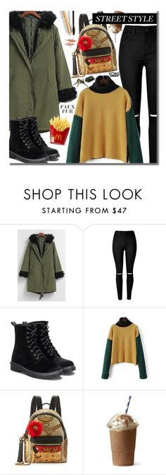 """""""Yoins Street Style"""" by beebeely-look ❤ liked on Polyvore featuring MCM, Dolce&Gabbana, StreetStyle, streetwear, wintersweater, fauxfurcoats and yoinscollection"""