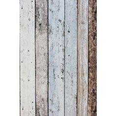 Nonwoven Wallpaper Scrap wood Blue/Brown bij Behangwebshop