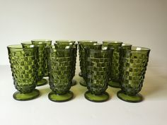 Vintage Green Indiana Footed Tumblers, Whitehall  Amber 15 oz Goblets, Drinking Glasses, Set of Twelve Glasses, Drinkware, Ice Tea Glasses by GirlGoesVintage on Etsy