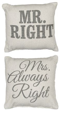 Mrs. Always Right - I need to buy this for a wedding gift for the next couple I know getting married. Too funny!