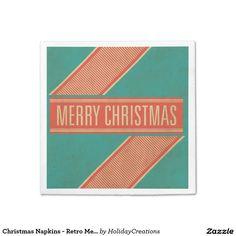 Christmas Napkins - Retro Merry Christmas Design