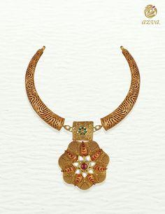 Azva handcrafted gold floral hasli with lattice work and enamel  #Goldjewellery #luxury #style