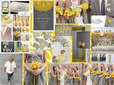 grey yellow wedding... Love these colors together, and the cute little boy in the pic!