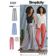 Simplicity Pattern 1072 Ms EASY Knit Pants ~ Skirt /& Pullover Top
