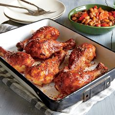 Roasted BBQ Drumsticks with Cowboy Beans - Quick and Easy Chicken and Turkey Recipes for Dinner Tonight - Cooking Light