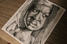Michonne gourmet caricature art print by PartsUnknownPosters
